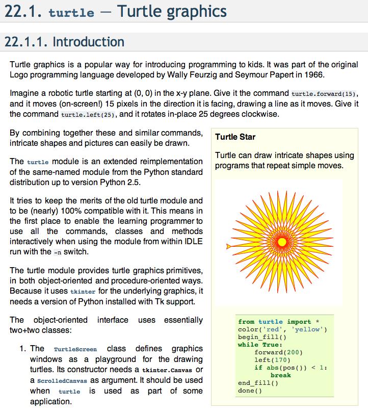 Issue 7061: Improve turtle module documentation - Python tracker